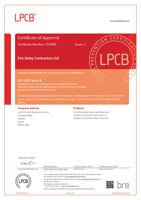 LPCB Cerfification for Fire Delay Contractors